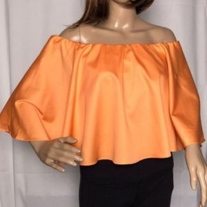 Tangerine Off Shoulder Flounce Top - M